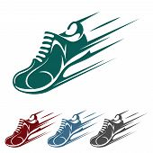 picture of long distance  - Speeding running shoe icons in four color variations with a trainer - JPG