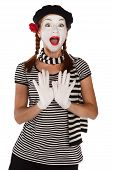 stock photo of clown rose  - Portrait of a comedian dressed up as a mime isolated over white background - JPG
