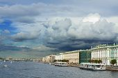View Of The Neva River Embankment .
