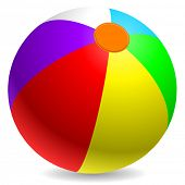 Colorful beach ball isolated on white background.