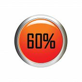 Internet Button. 60 Percent Discount Icon On White Background.