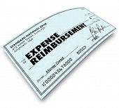 Expense Report words on paper check as reimbursement payment for your travel, meals and work related costs
