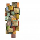 Fragmented Multiple Color Square Tile Grunge Pattern Shape