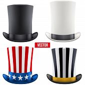 picture of cylinder  - Set of tall gentleman hat cylinder with ribbon - JPG