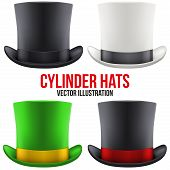 pic of cylinder  - Set of gentleman hat cylinder with ribbon - JPG