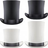 Set of big gentleman hat cylinder. Vector Illustration.