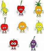 A set of cute fruits