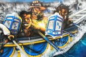Water Jousting Graffiti Scene In Sete, France