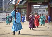 SEOUL - FEBRUARY 14: Royal guards at Gyeongbokgung Palace February 14, 2013 in Seoul, ROK. Guards ha