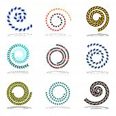 Spiral design elements set. Vector art.