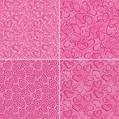 Set of valentine hearts seamless patterns