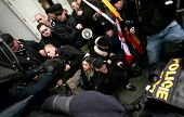 BRNO,CZECH REP,FEB 17:Police clash with supporters of Worker's Party on 17 Feb 2010 in Brno,Czech Re