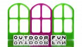 Outdoor Fun Message With Red And Green Doors