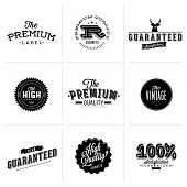 Vintage Styled Premium Quality and Satisfaction Guarantee Label collection with black grungy design.