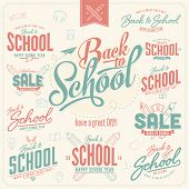 Set of Vintage Premium Quality Back to School Stickers And Elements