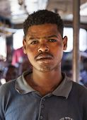 Portrait Of Man On The Bus. Sodo Wolaita. Ethiopia.