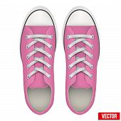 pair of pink simple sneakers. Realistic Vector Illustration.
