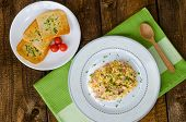 Scrambled Eggs With Chive And Bacon, Toast With Herbs
