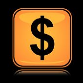 Yellow square icon american dollar with reflection