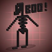 Skeleton. 3D Pixel Art.