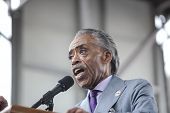 Reverend Al Sharpton addresses audience