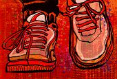 Basketball shoes over a grunge city background - vector illustration