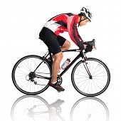 Asian male cyclist riding road bicycle, side view isolated on white background.
