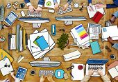 People Working at Messy Table in Photo and Illustration