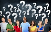 Diverse People Thinking and Question Marks