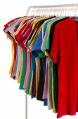 Colored Shirts On Hangers In A Row.