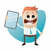 funny cartoon businessman with smartphone