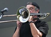pic of pro-life  - Professional trombone player blowing a solo at an afternoon jazz concert in Ottawa Canada - JPG