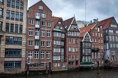 Traditional buildings along canal in Hamburg