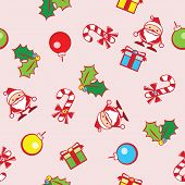 seamless background of Christmas with cute graphic of Santa