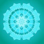 image of macrame  - vector delicate blue lace round mandala pattern - JPG