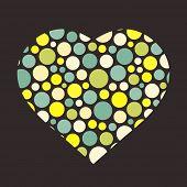 Valentine's day background with heart. Love symbol. Vector illustration for romantic nostalgia desig
