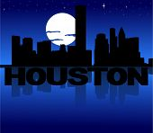 Houston skyline reflected with text and moon vector illustration