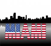 Miami skyline reflected with American flag text vector illustration