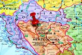 Banja Luka pinned on a map of europe
