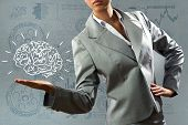 Close up of business woman holding human brain in hand