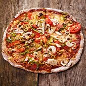 Food. Delicious pizza on the wooden table