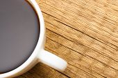 Close Up Of White Ceramic Coffee Cup On Wooden Table - View From Top