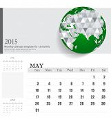 Simple 2015 calendar, May. Vector illustration.
