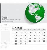 Simple 2015 calendar, March. Vector illustration.