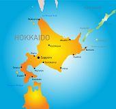 Hokkaido island vector color map