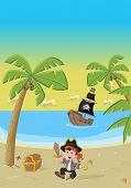 Cartoon pirate boy on a beautiful tropical beach