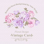 foto of hydrangea  - Gentle Pink Vintage Floral Greeting Card with Blooming Hydrangea and Peonies - JPG