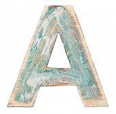 Painted wood alphabet, letter A