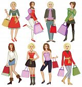 young fashion girls with shopping bags (vector illustration)