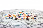 Various pharmaceuticals on dollar notes